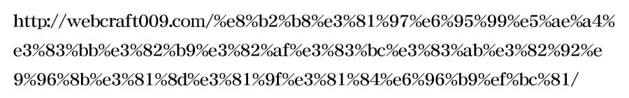 スラッグ設定前の日本語URLのイメージ画像